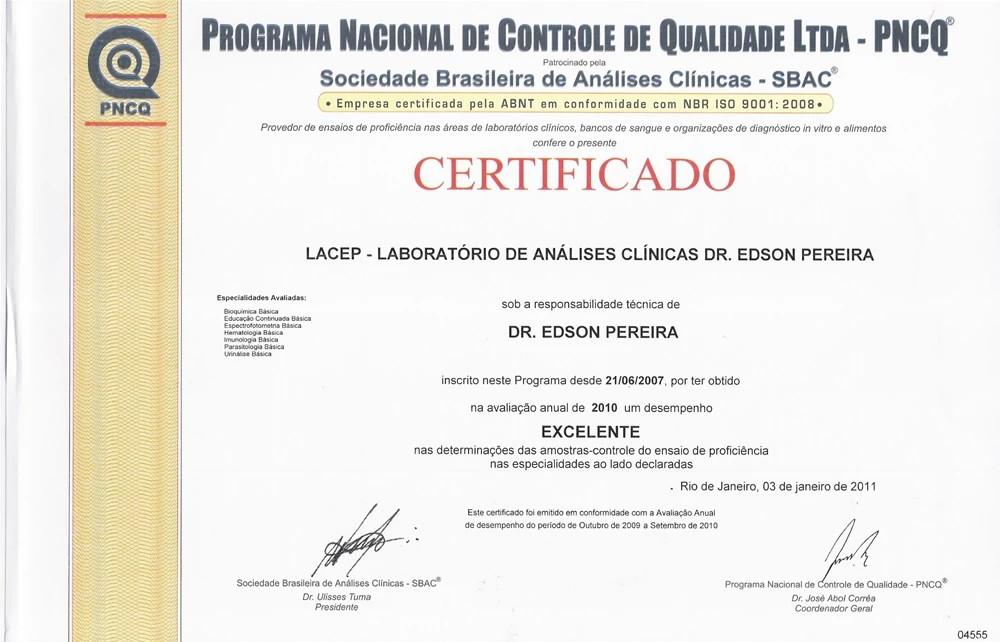 Certificado PNCQ 2010